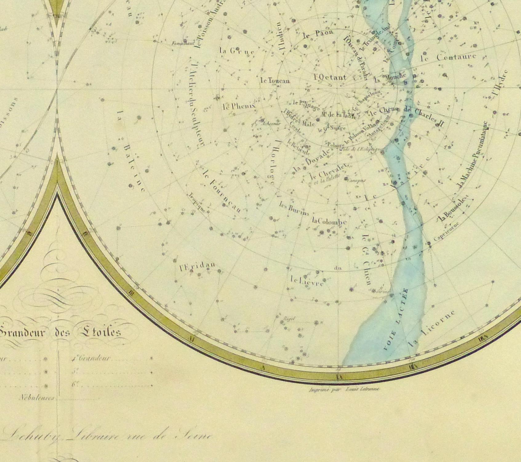 Celestial Planispheres Engraving, 1838-detail-10371M