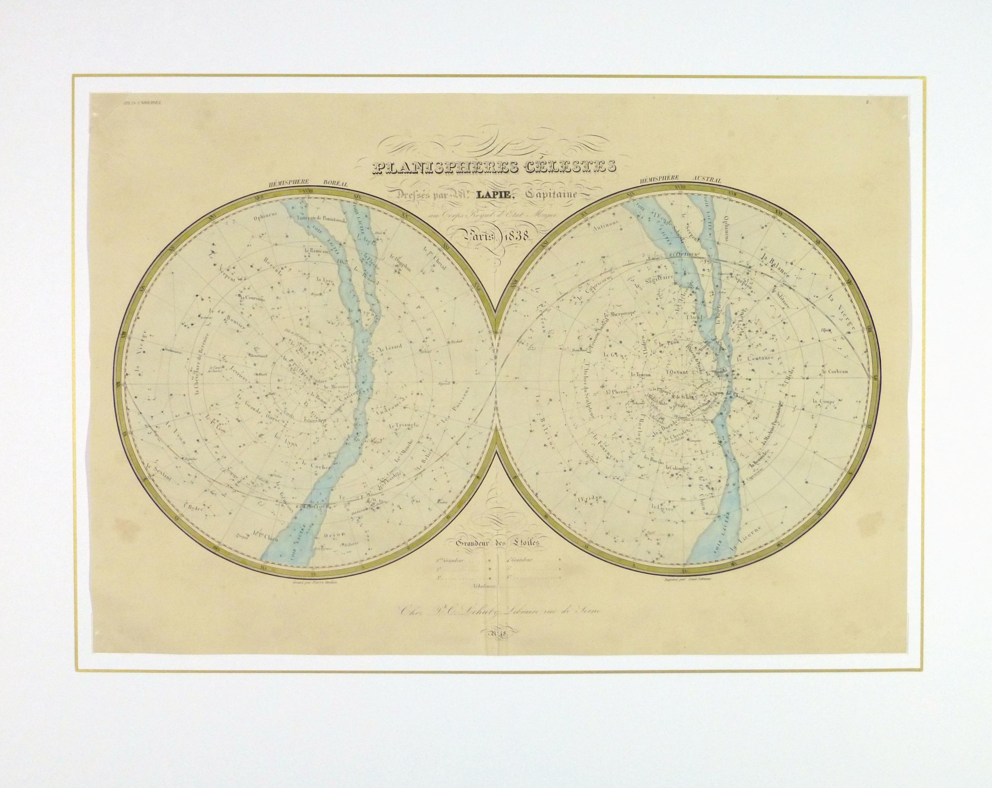 Celestial Planispheres Engraving, 1838-matted-10371M