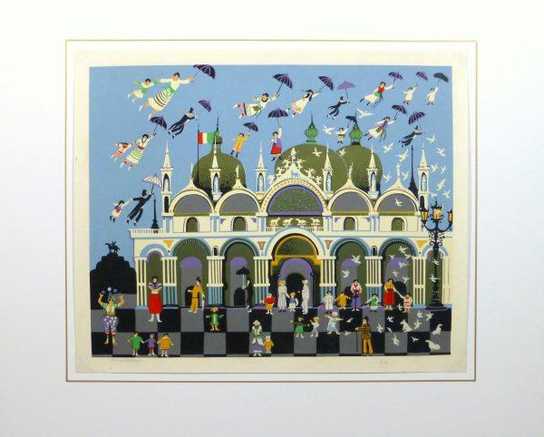 Lithograph - Venice Fantasy, Circa 1970-matted-10389M