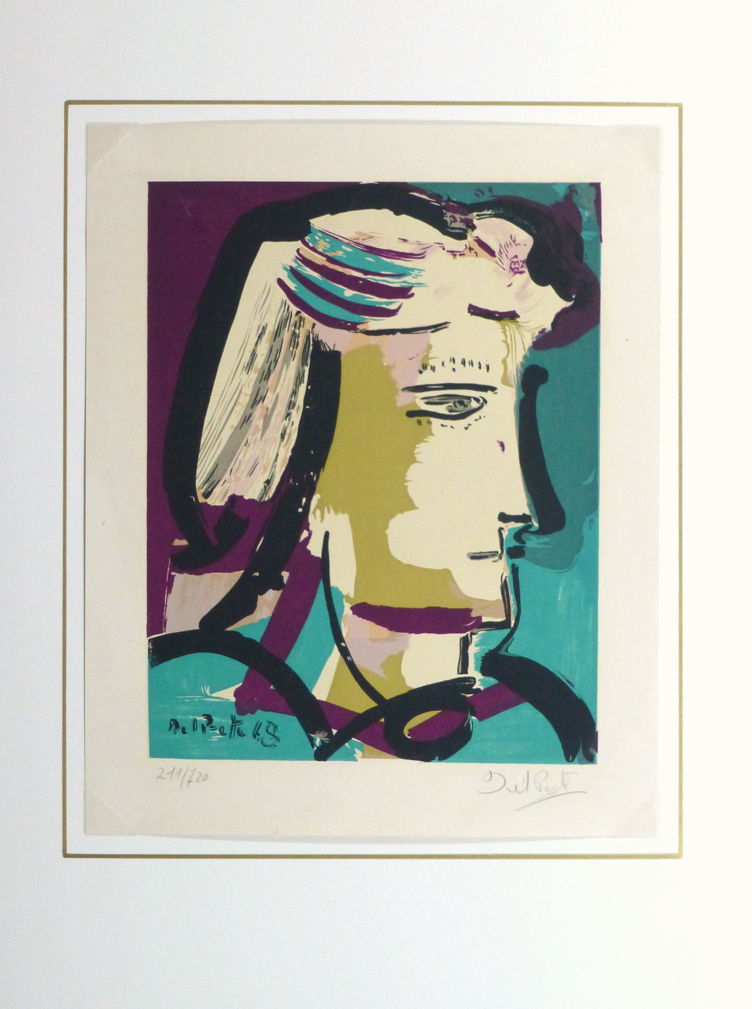 Abstract Portrait Lithograph, 1968-matted-10390M