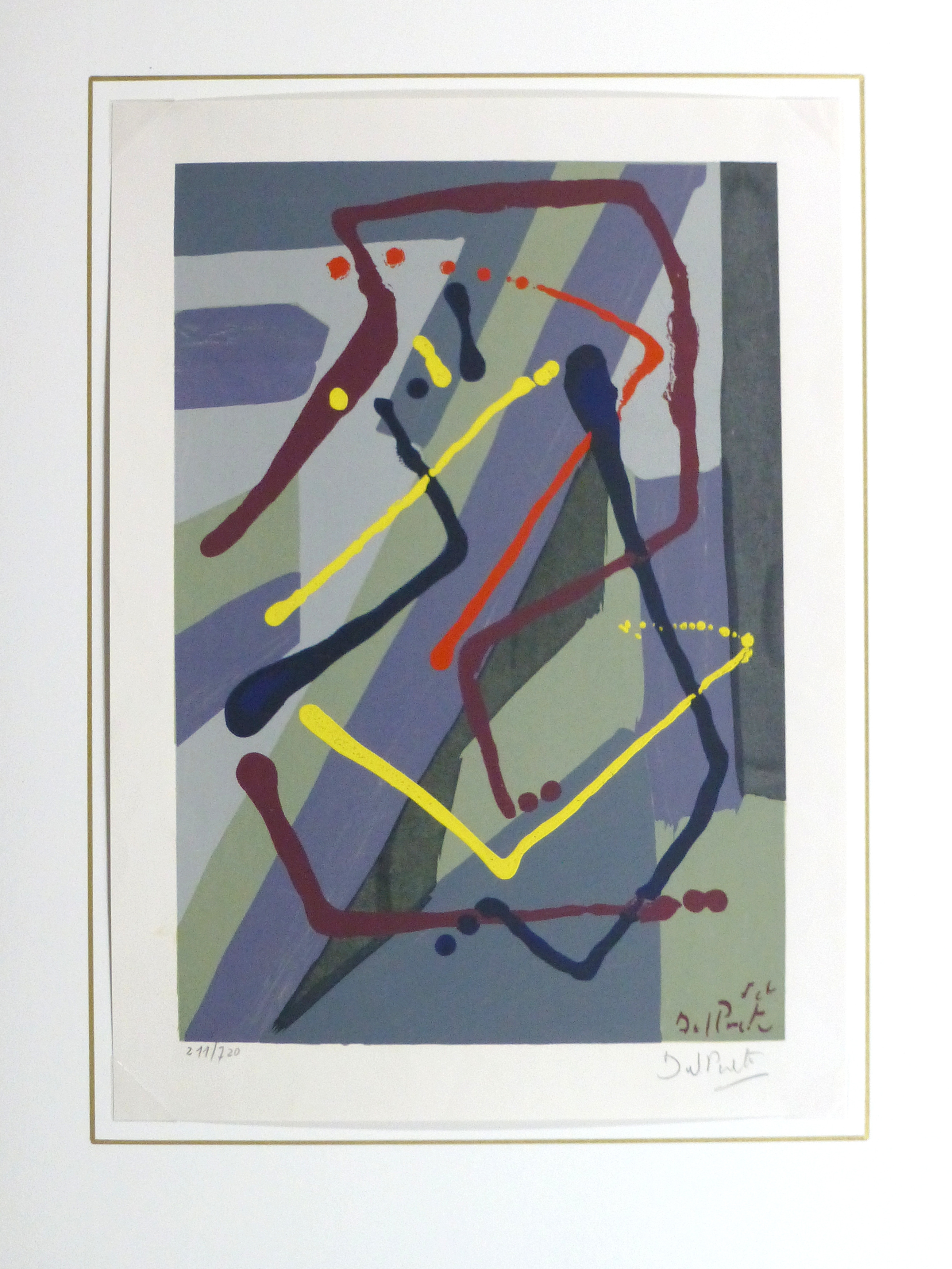 Abstract Lithograph, Circa 1970-matted-10391M