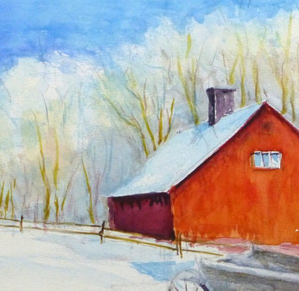 Watercolor Landscape - Winter Barn, Circa 2000-detail 2-10392M