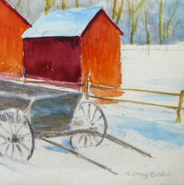 Watercolor Landscape - Winter Barn, Circa 2000-detail-10392M