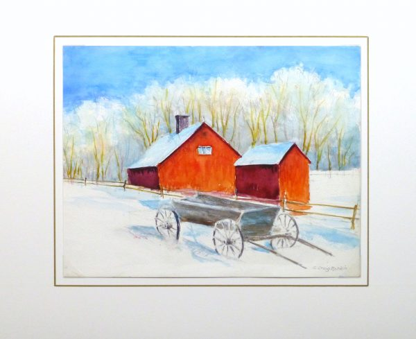Watercolor Landscape - Winter Barn, Circa 2000-matted-10392M