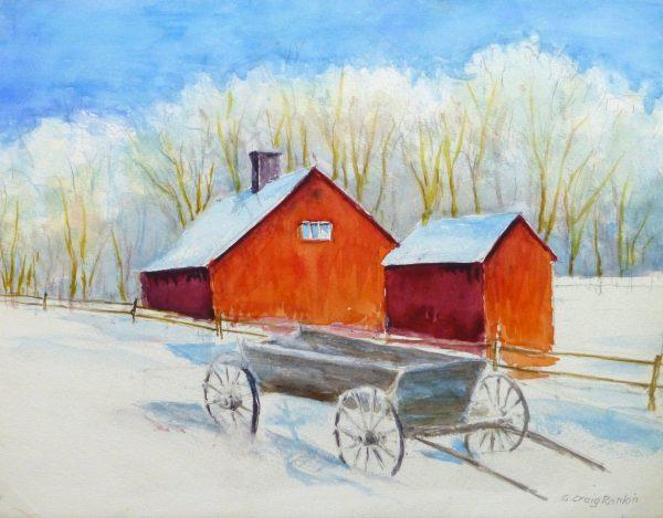 Watercolor Landscape - Winter Barn, Circa 2000-main-10392M