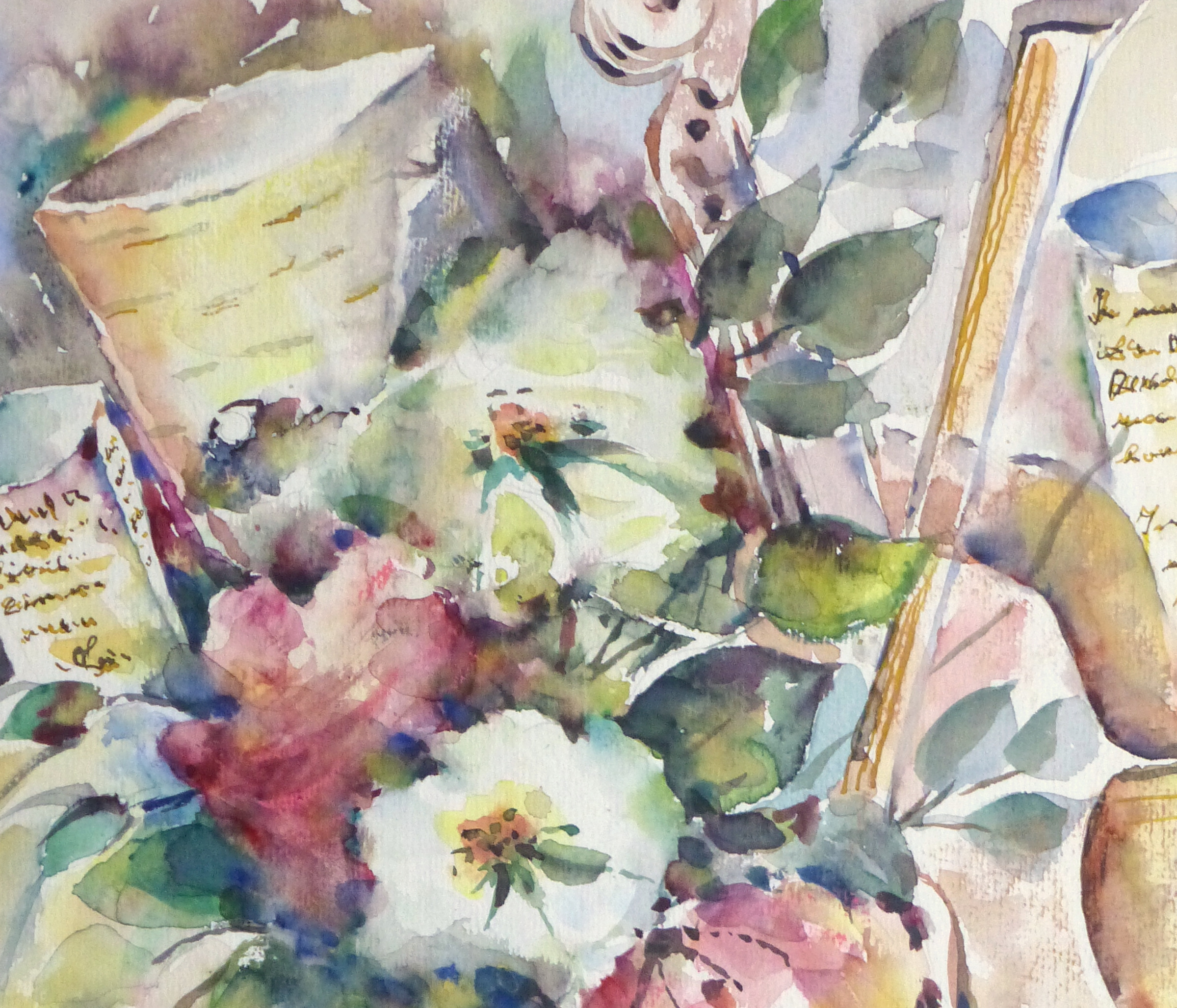 Watercolor Still Life - Musical Blooms, 1997-detail 2-10395M