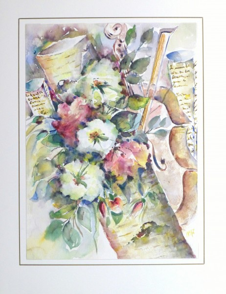 Watercolor Still Life - Musical Blooms, 1997-matted-10395M