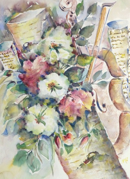 Watercolor Still Life - Musical Blooms, 1997-main-10395M