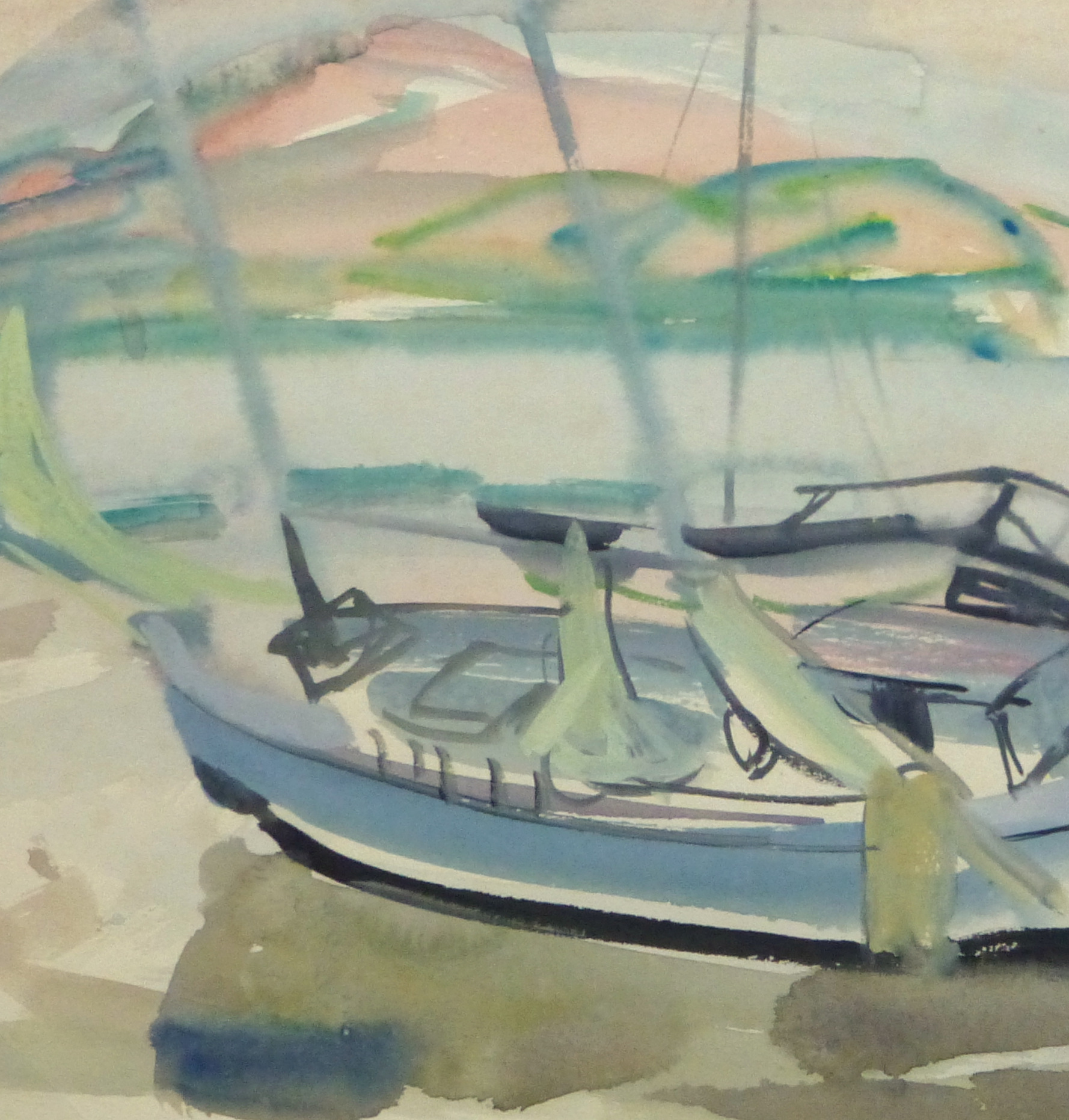 Watercolor Landscape - Sunset harbor, Circa 1950-detail 2-10396M
