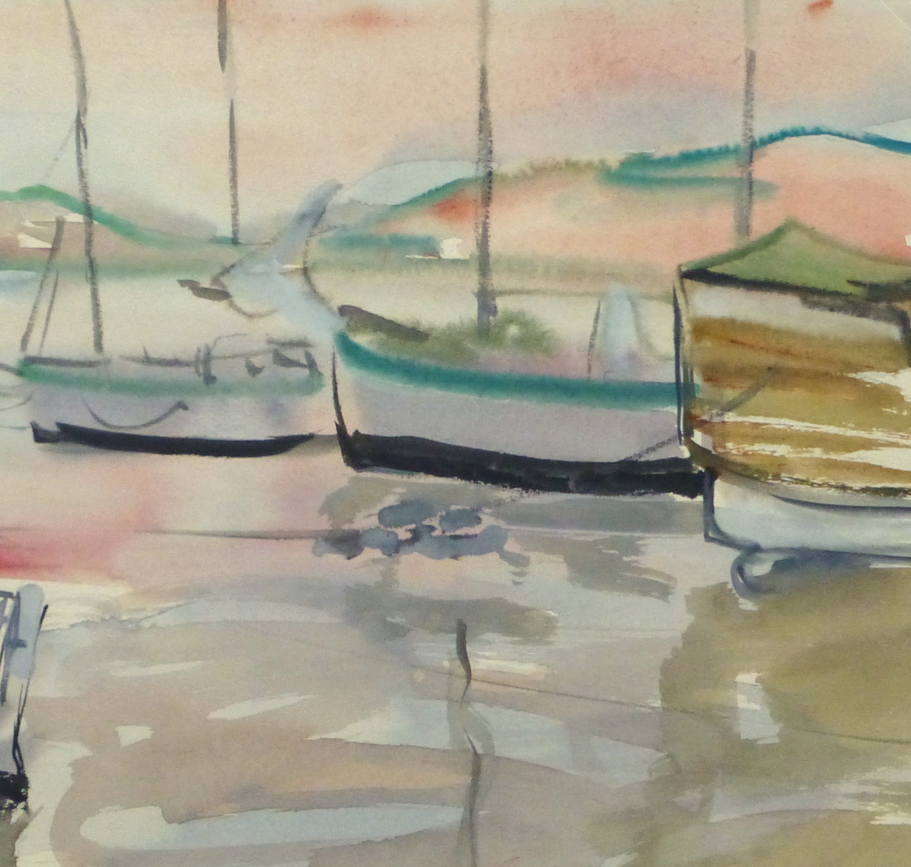 Watercolor Landscape - Sunset harbor, Circa 1950-detail-10396M