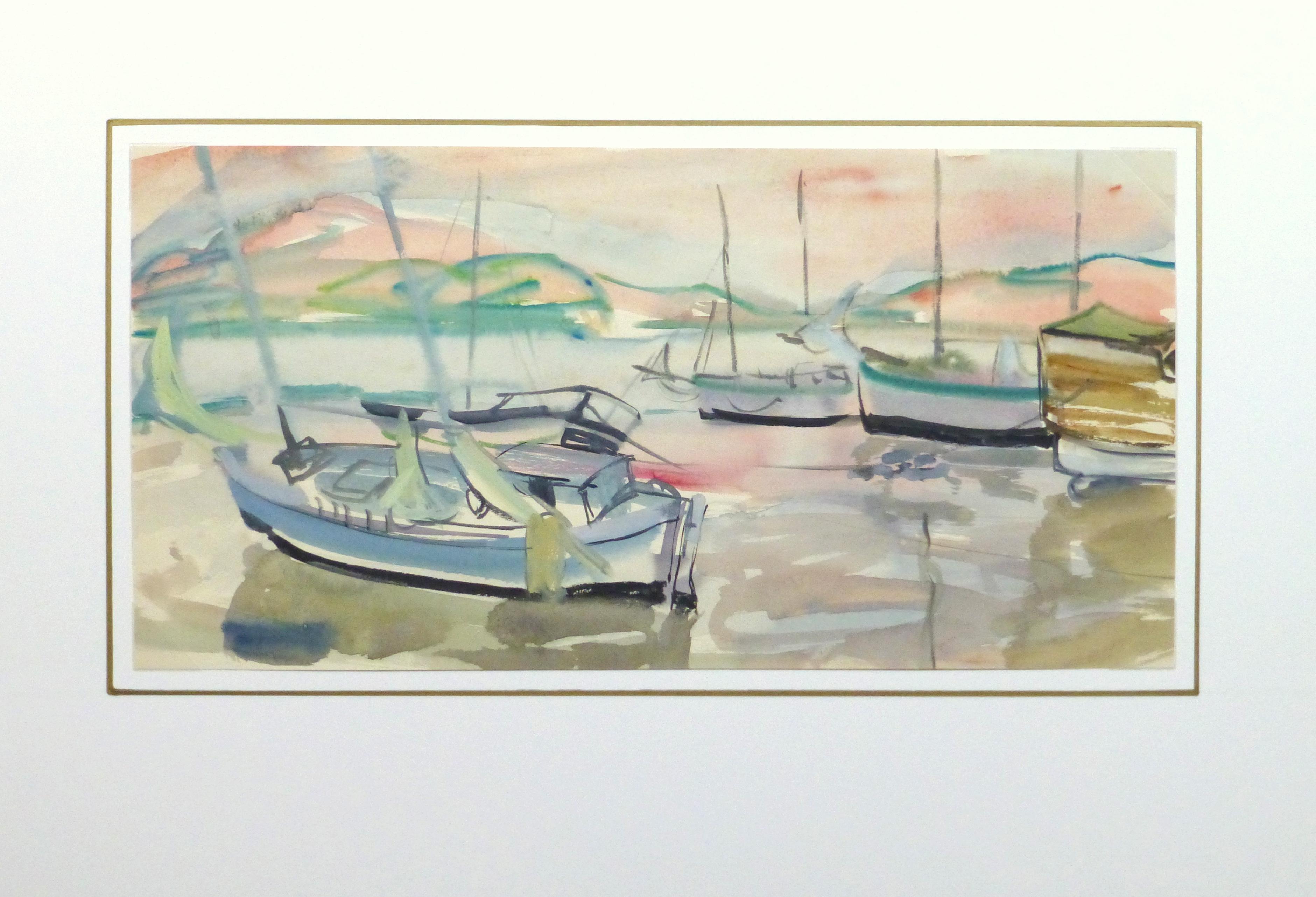 Watercolor Landscape - Sunset harbor, Circa 1950-matted-10396M