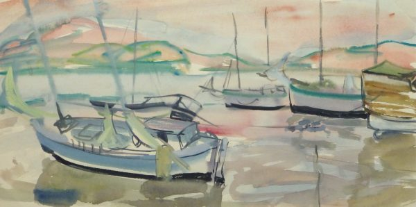 Watercolor Landscape - Sunset harbor, Circa 1950-main-10396M