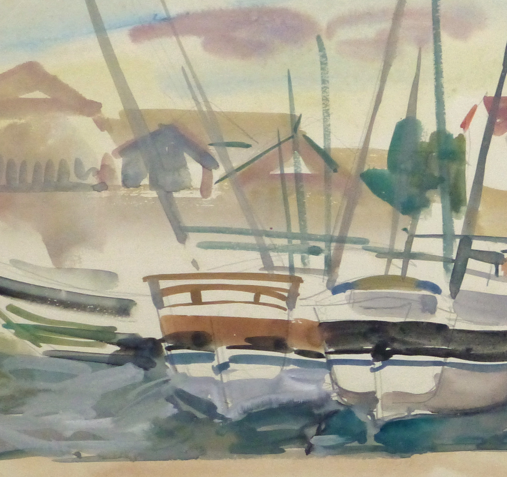 Watercolor Landscape- Marina, Circa 1950-detail 2-10397M