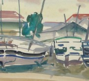 Watercolor Landscape- Marina, Circa 1950-detail-10397M