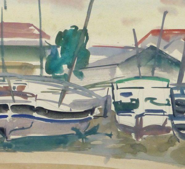 Watercolor Landscape- Marina, Circa 1950-detail-10397M