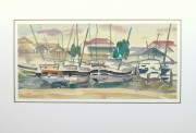 Watercolor Landscape- Marina, Circa 1950-matted-10397M