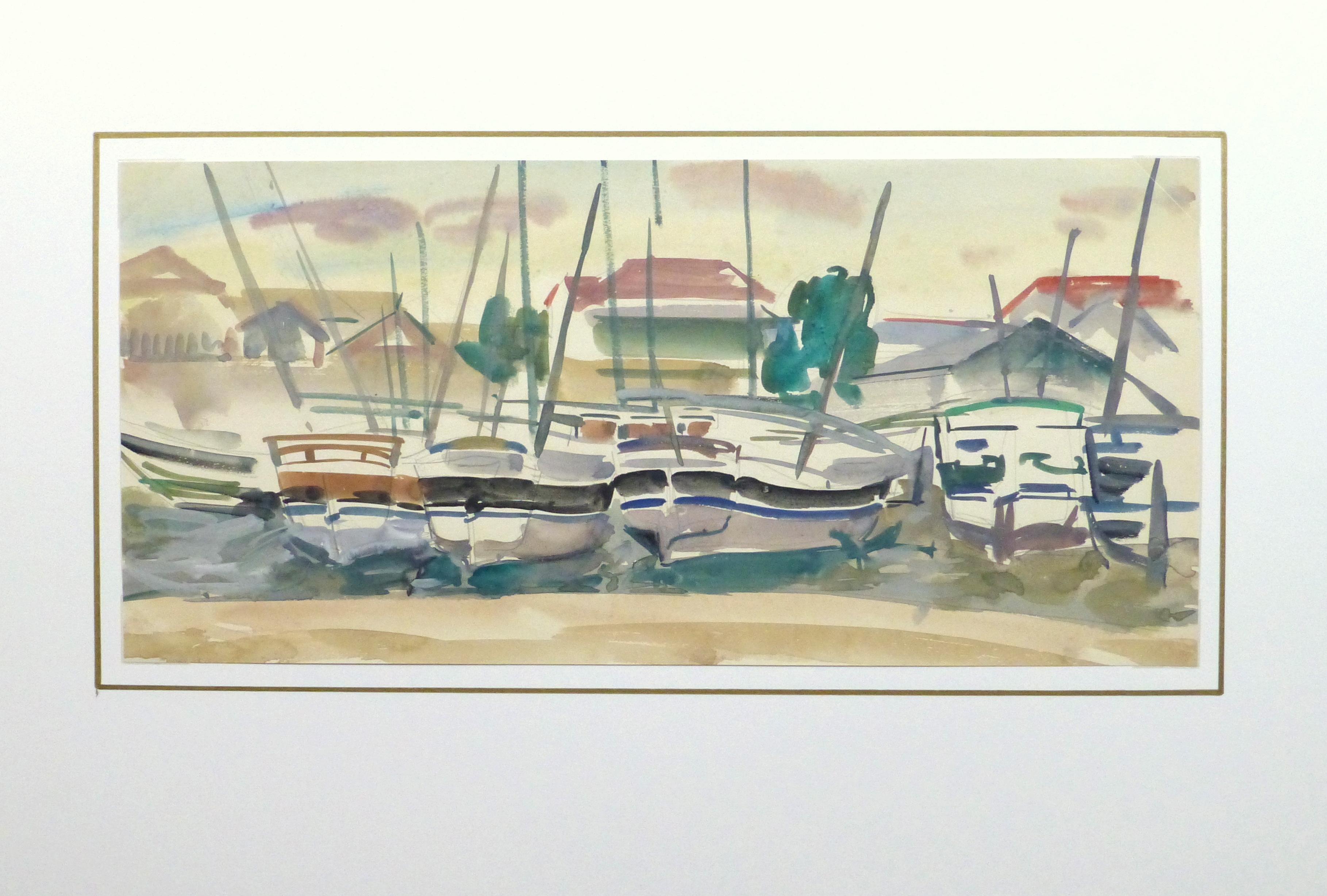 Watercolor Landscape- Marina, Circa 1950-matted-10397M