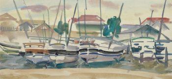 Watercolor Landscape- Marina, Circa 1950-main-10397M