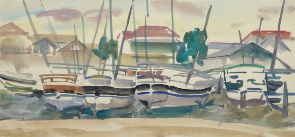 Watercolor Landscape- Marina, Circa 1950-main-10397M