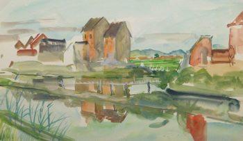 Watercolor Landscape - Farming Village, Circa 1950-main-10398M