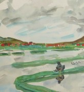 Watercolor Landscape - Rice Fields, Circa 1950-detail 2-10399M