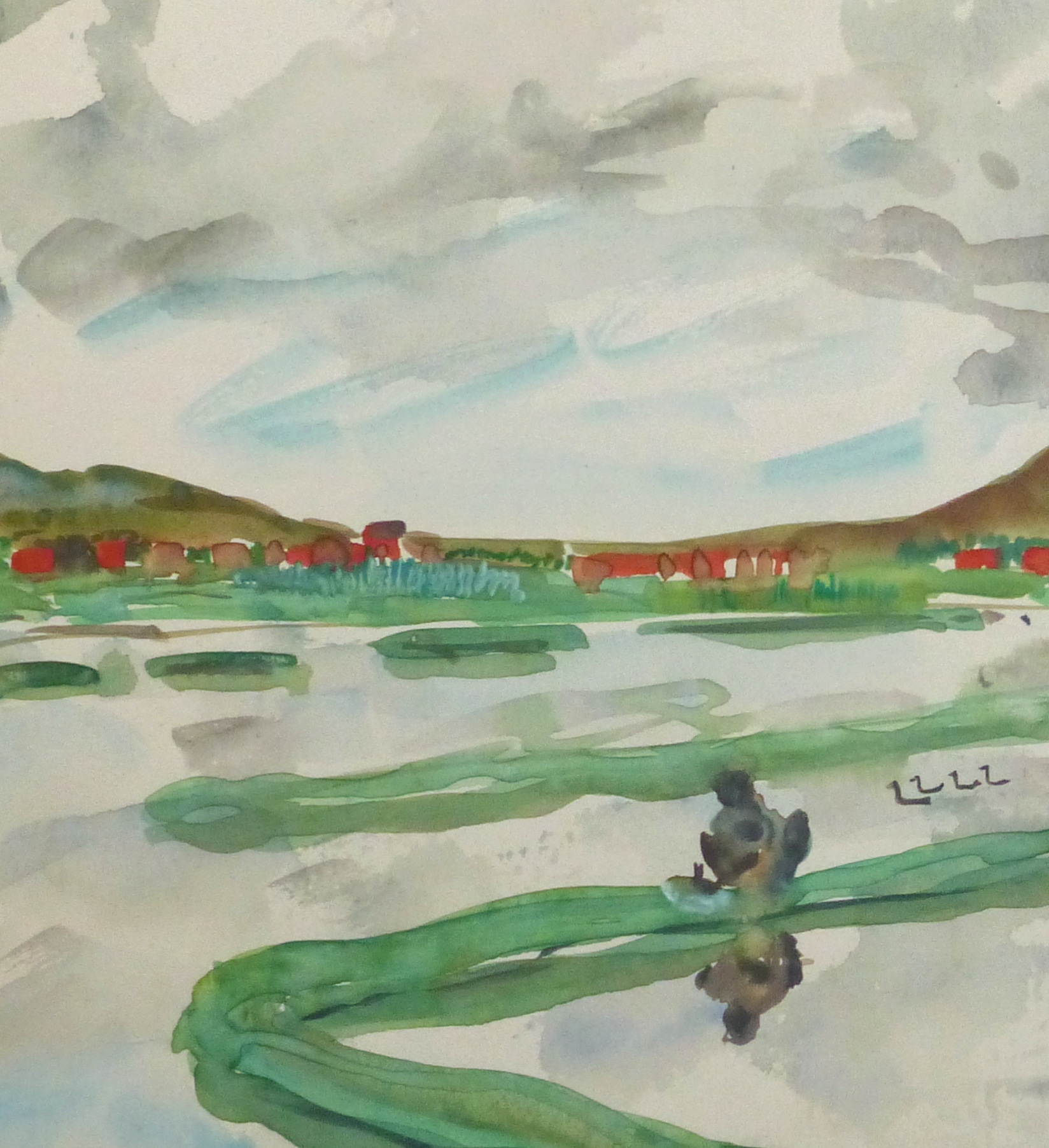 Watercolor Landscape - Rice Fields, Circa 1950-detail 2-10399M