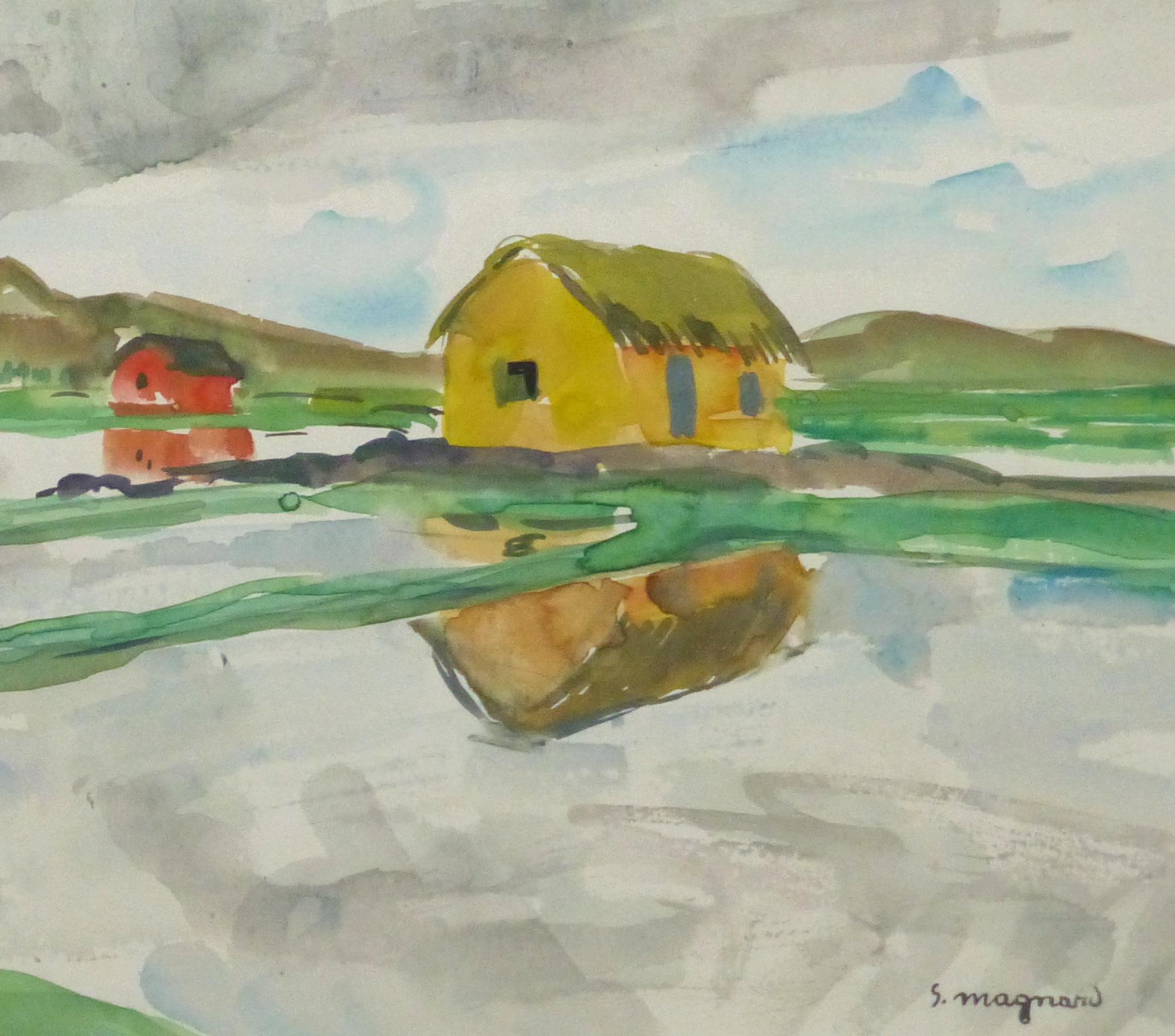 Watercolor Landscape - Rice Fields, Circa 1950-detail-10399M