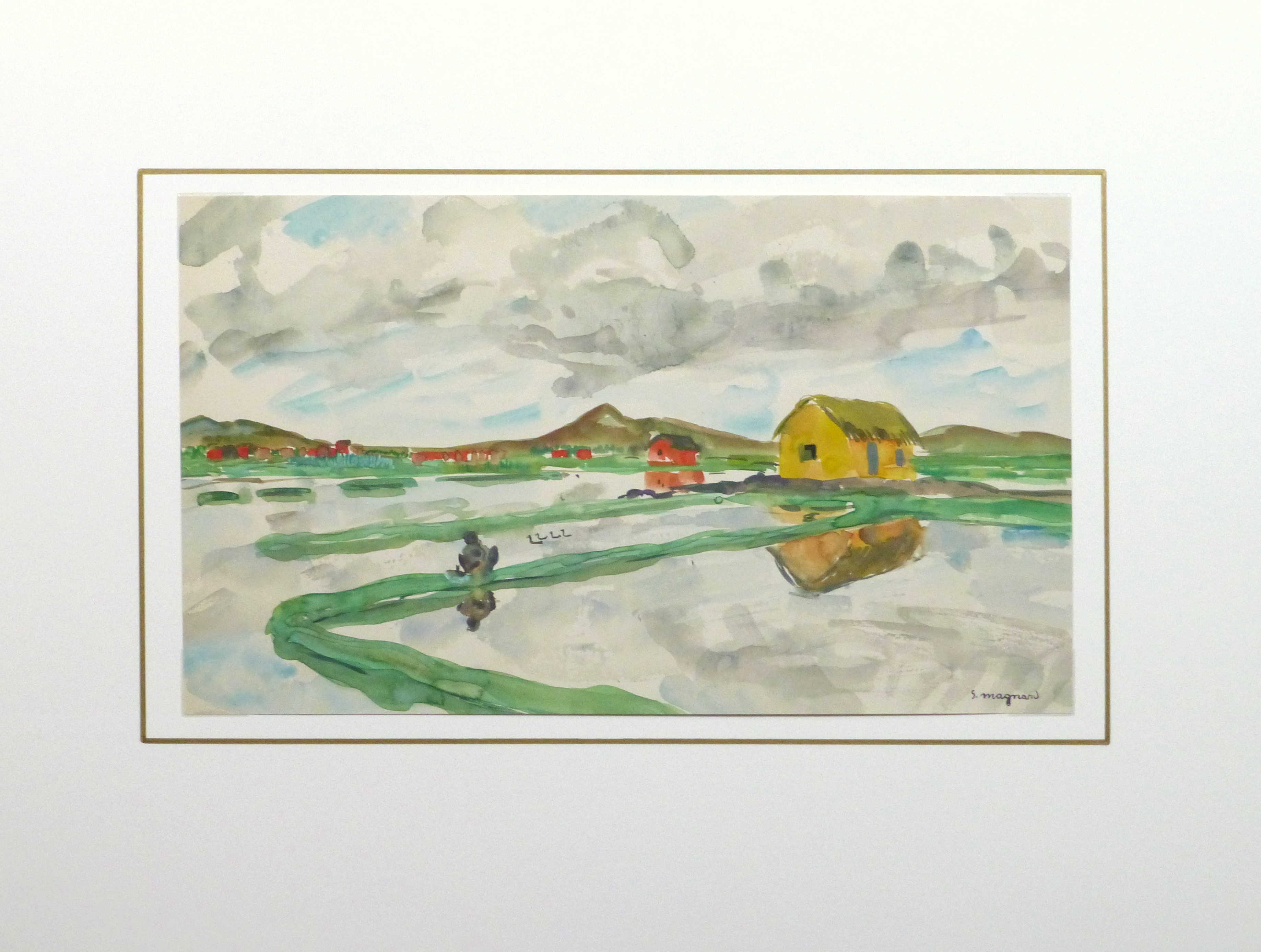 Watercolor Landscape - Rice Fields, Circa 1950-matted-10399M