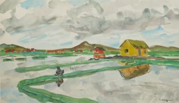 Watercolor Landscape - Rice Fields, Circa 1950-main-10399M