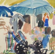 Watercolor Landscape - Island Market, Circa 1950-detail 2-10400M
