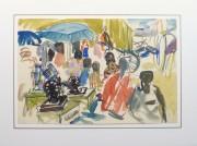 Watercolor Landscape - Island Market, Circa 1950-matted-10400M