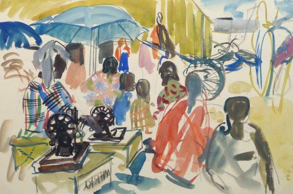 Watercolor Landscape - Island Market, Circa 1950-main-10400M