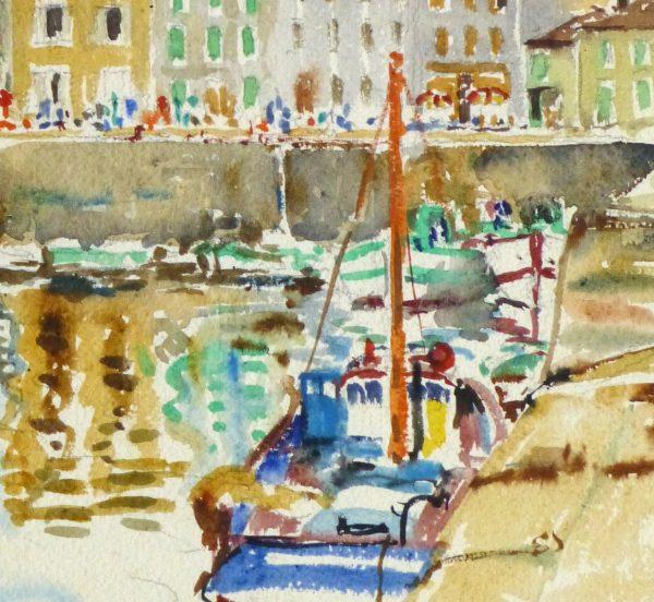 Bright Habor Watercolor, Circa 1940-detail-10430M