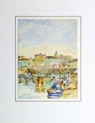 Bright Habor Watercolor, Circa 1940-matted-10430M