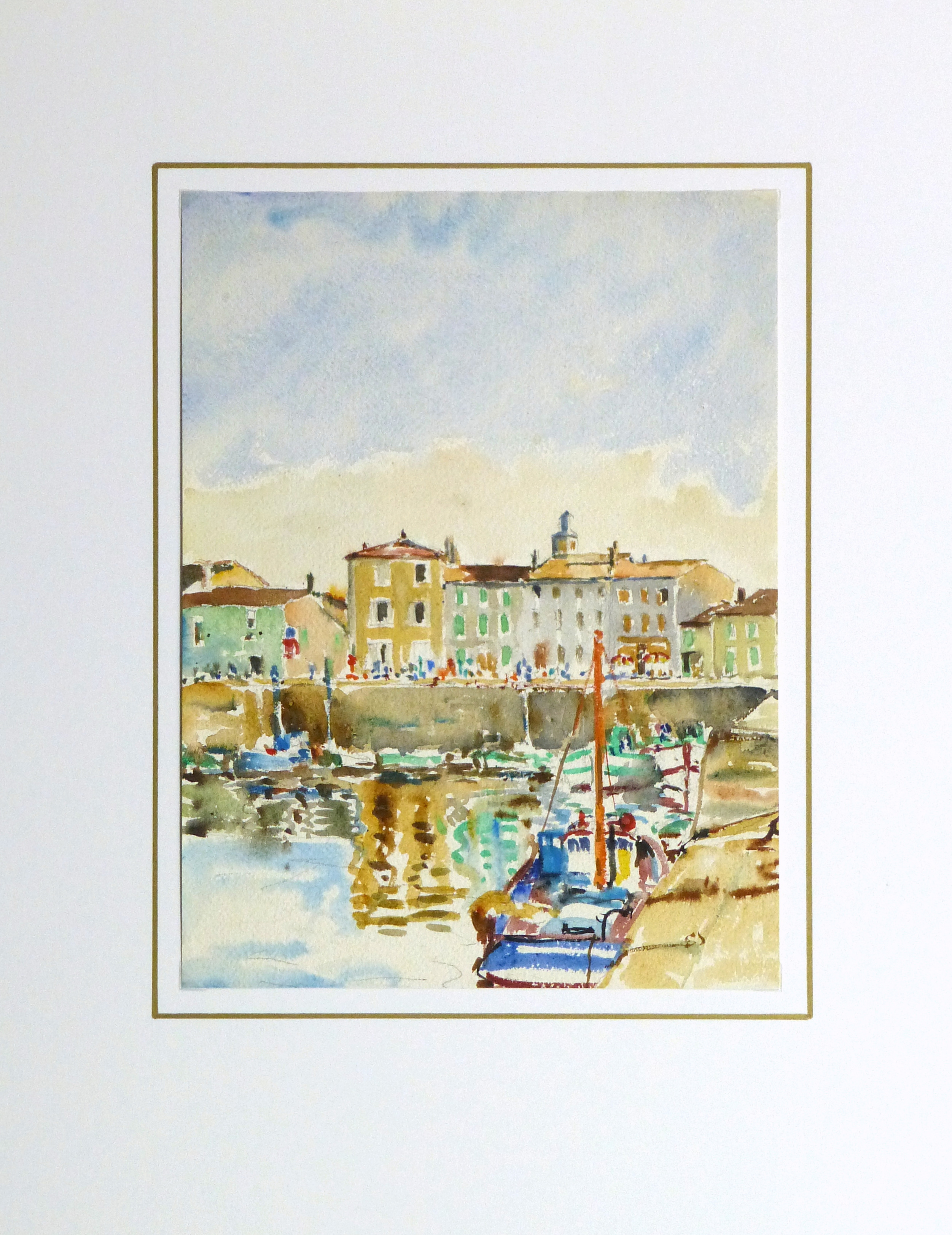 Bright Habor Watercolor, Circa 1940-matted-10430M