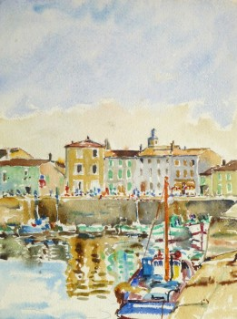 Bright Habor Watercolor, Circa 1940-main-10430M