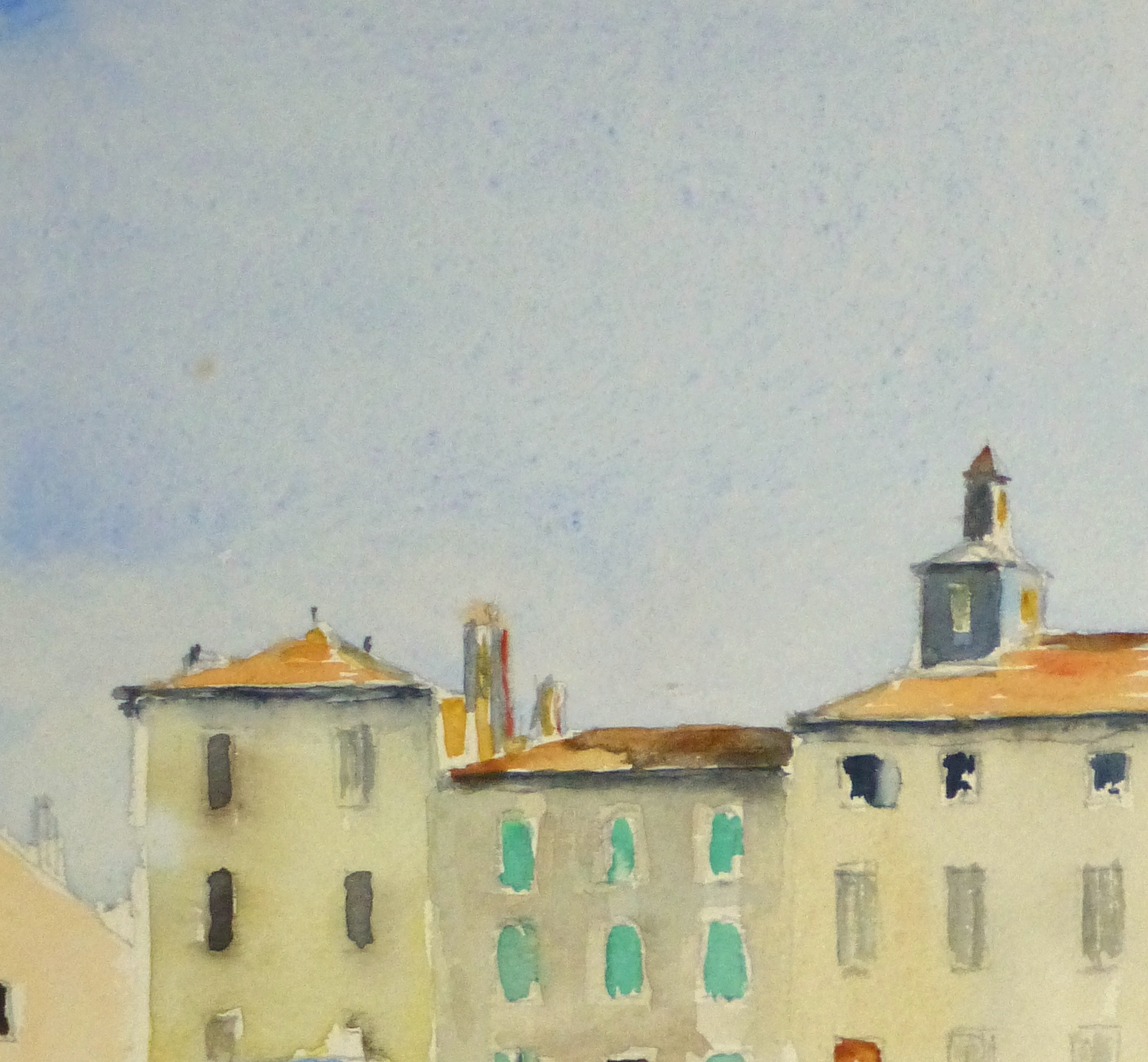 Harbor Town Watercolor, Circa 1940-detail 2-10432M