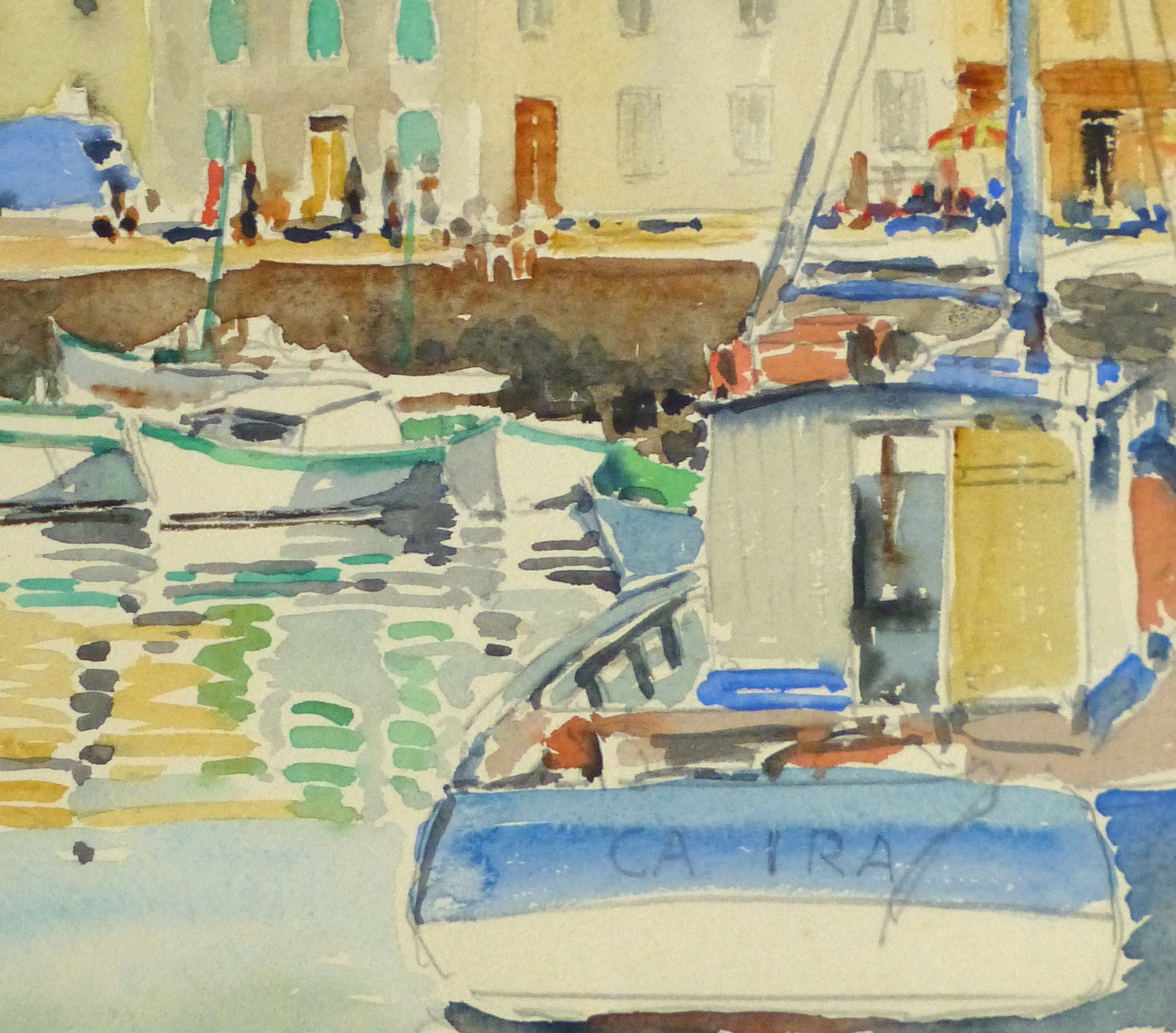 Harbor Town Watercolor, Circa 1940-detail-10432M