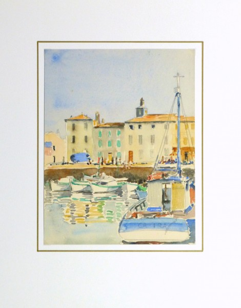 Harbor Town Watercolor, Circa 1940-matted-10432M