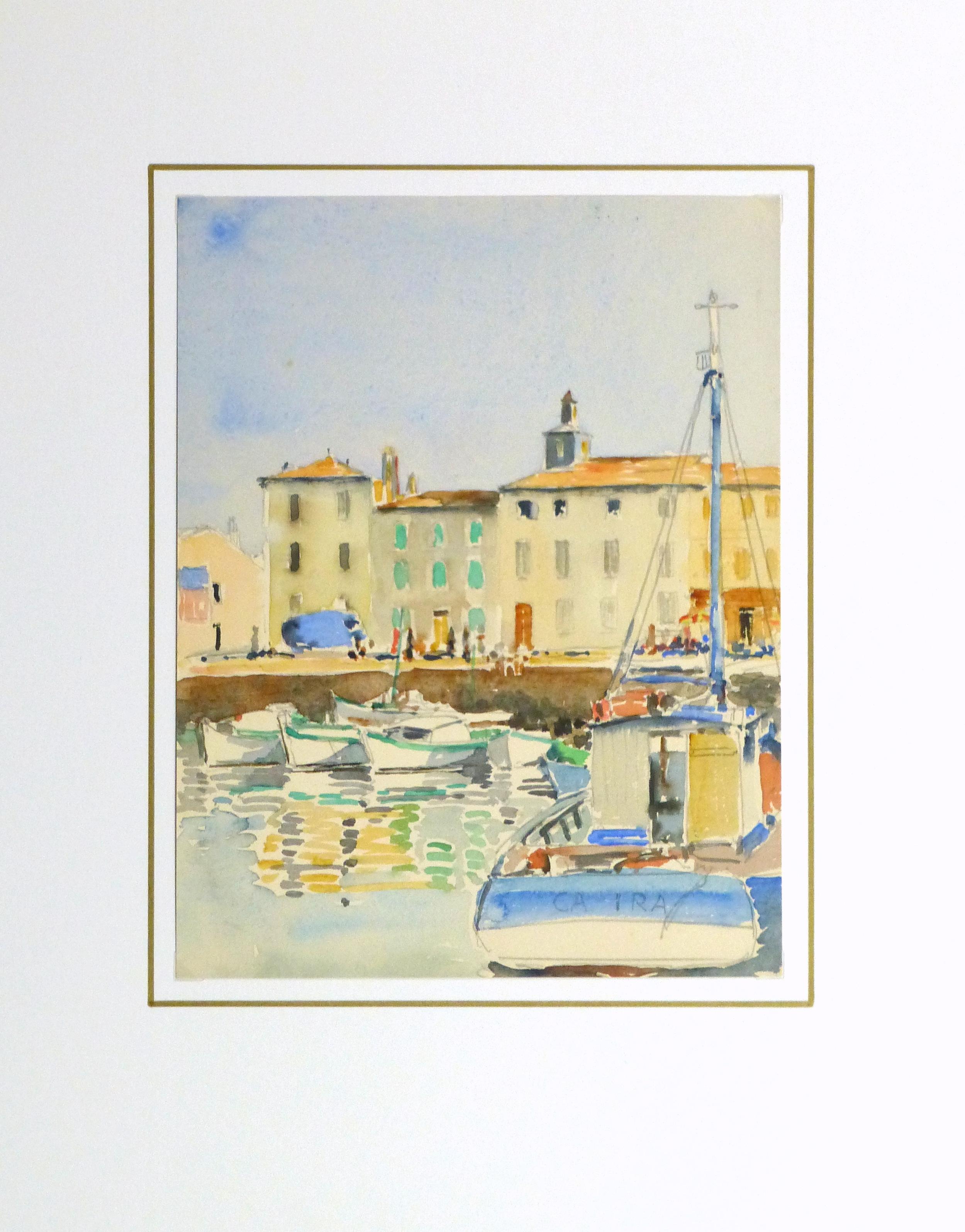 Harbor Town Watercolor, Circa 1940-matted-10432M