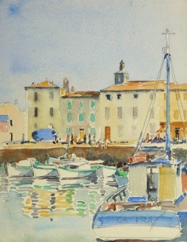 Harbor Town Watercolor, Circa 1940-main-10432M
