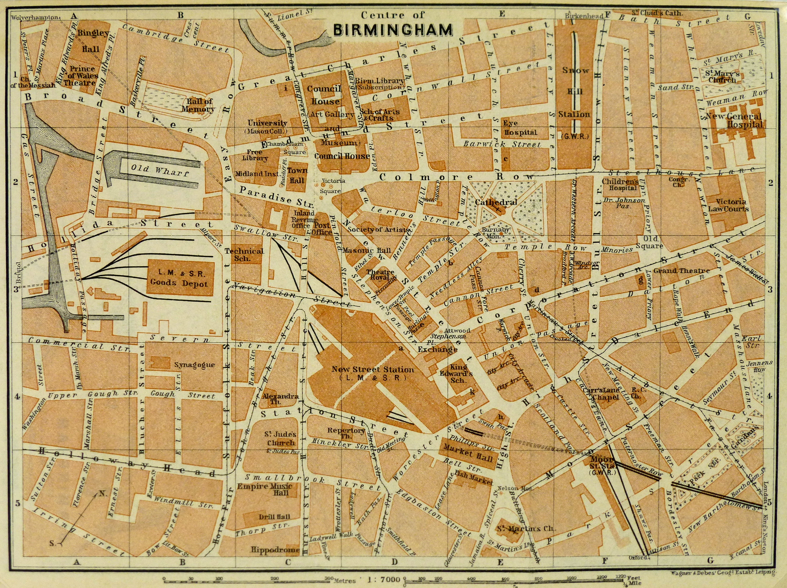 Birmingham England Map 1924 Original Art Antique Maps