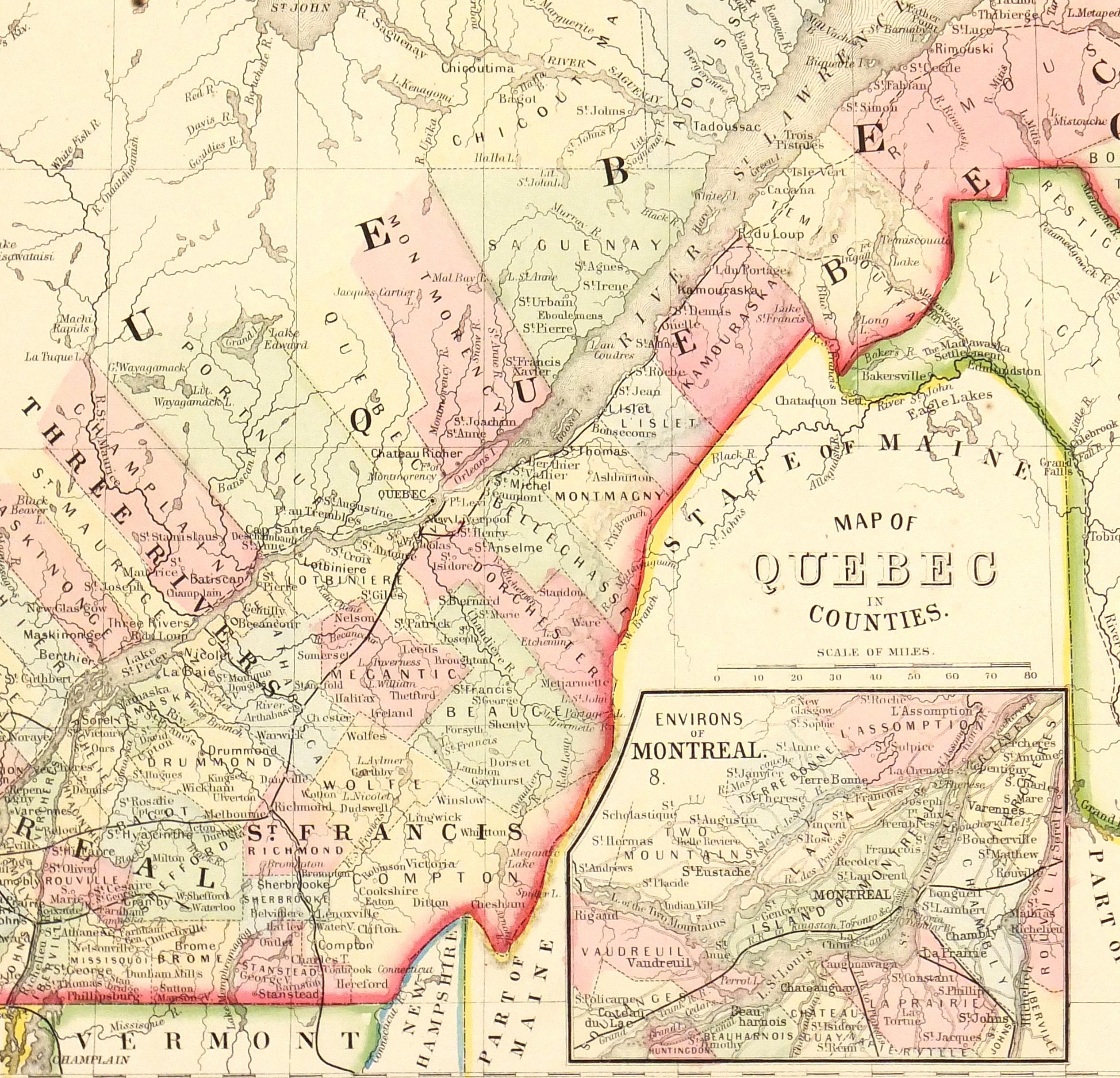 Quebec, Canada Map, 1867-detail-5513K