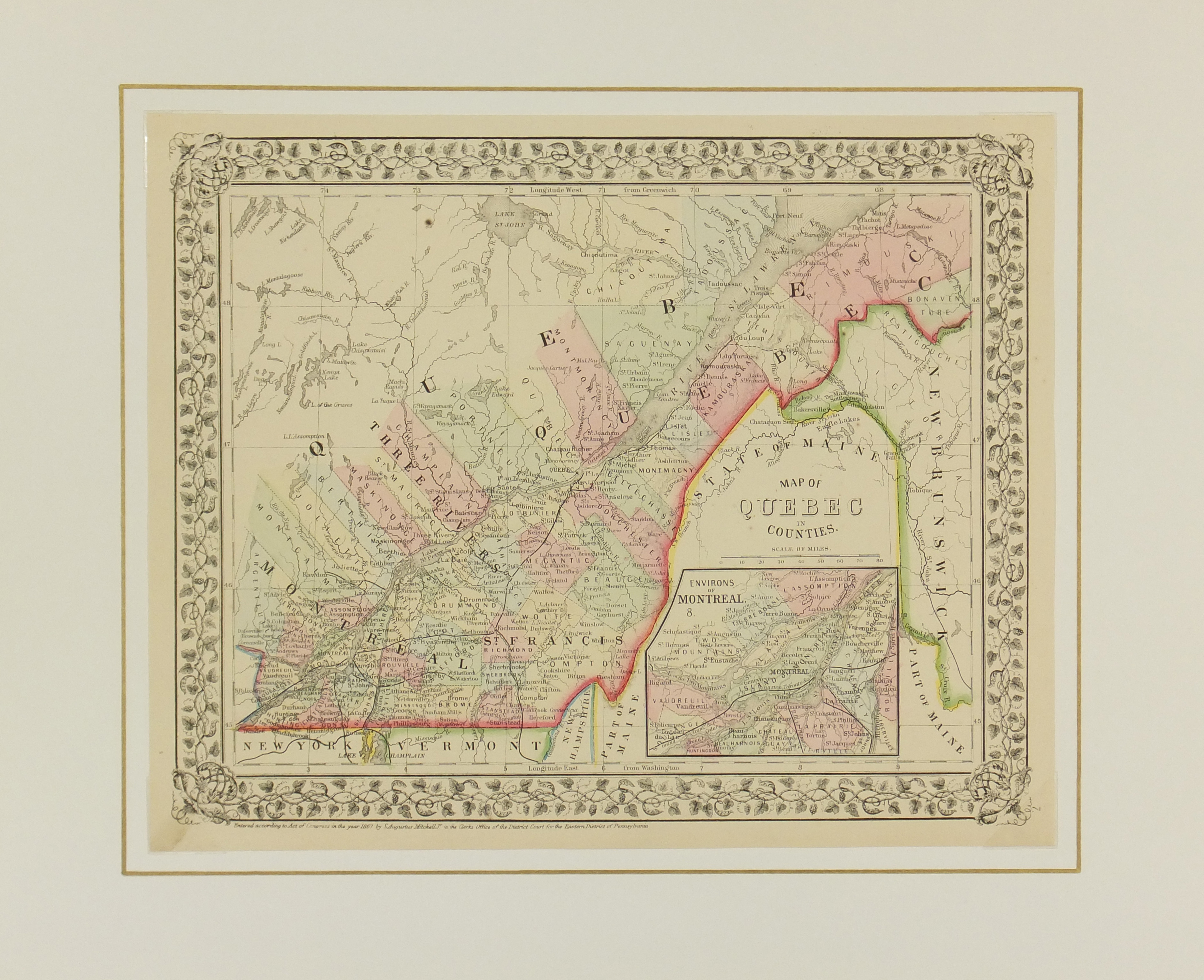 Quebec, Canada Map, 1867-matted-5513K