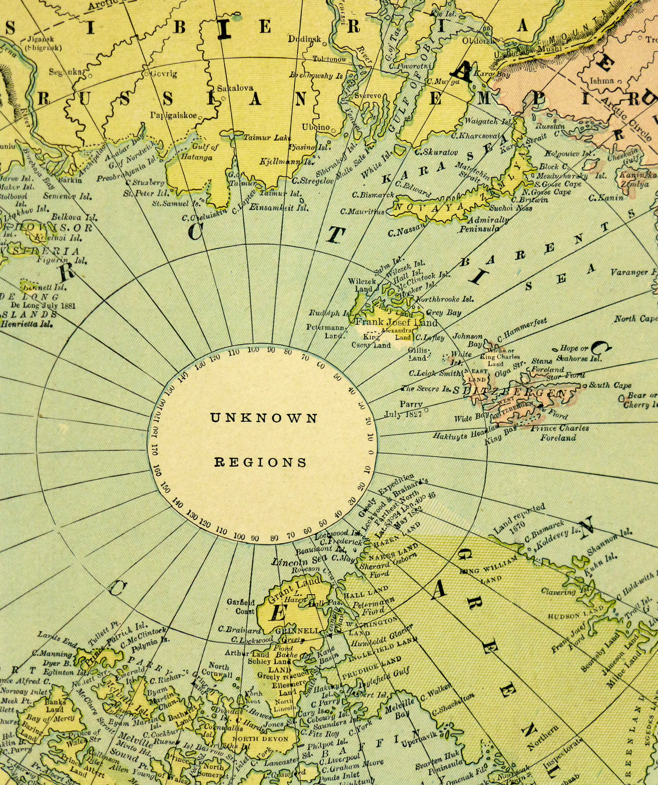 Polar Regions Map, Circa 1885-detail-5759K
