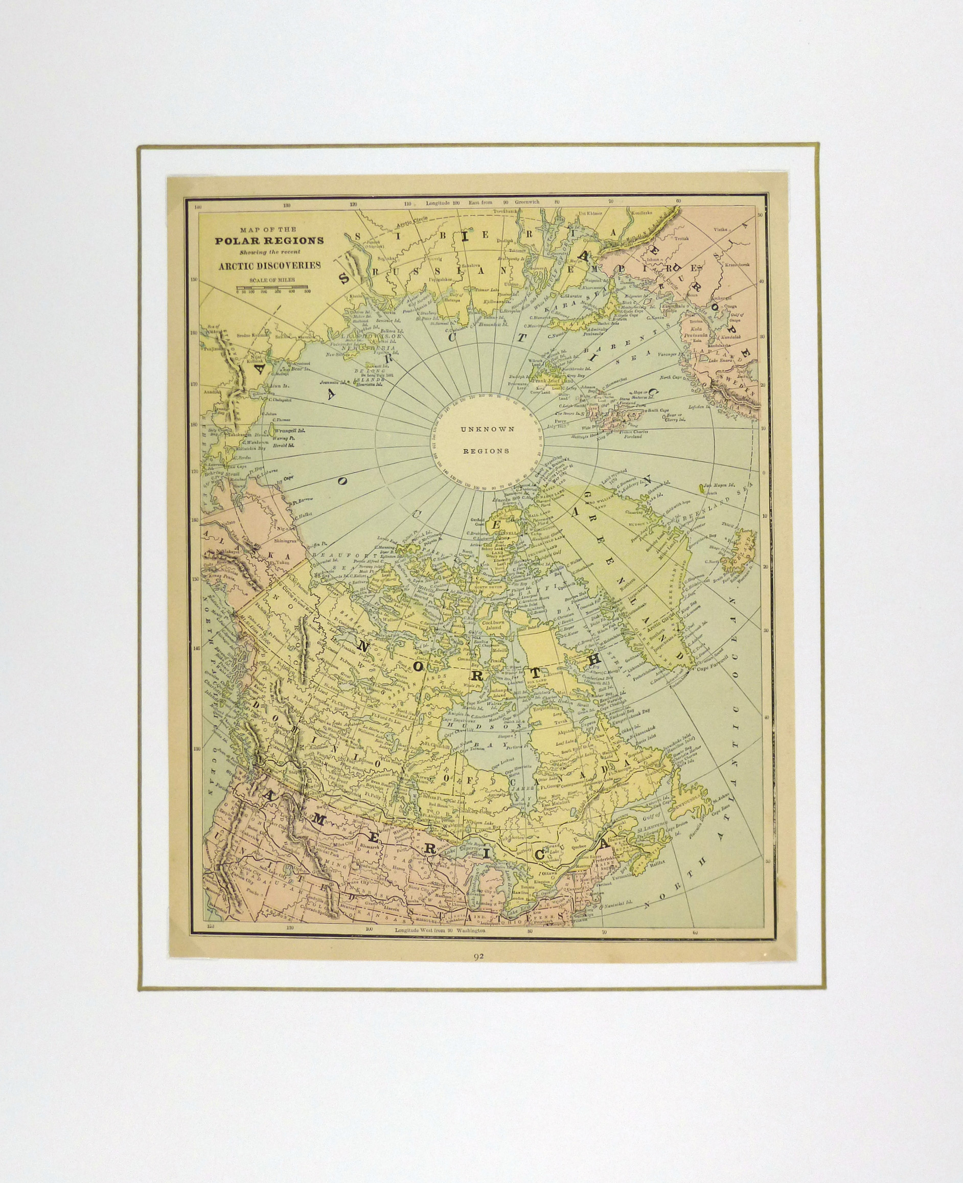 Polar Regions Map, Circa 1885-matted-5759K