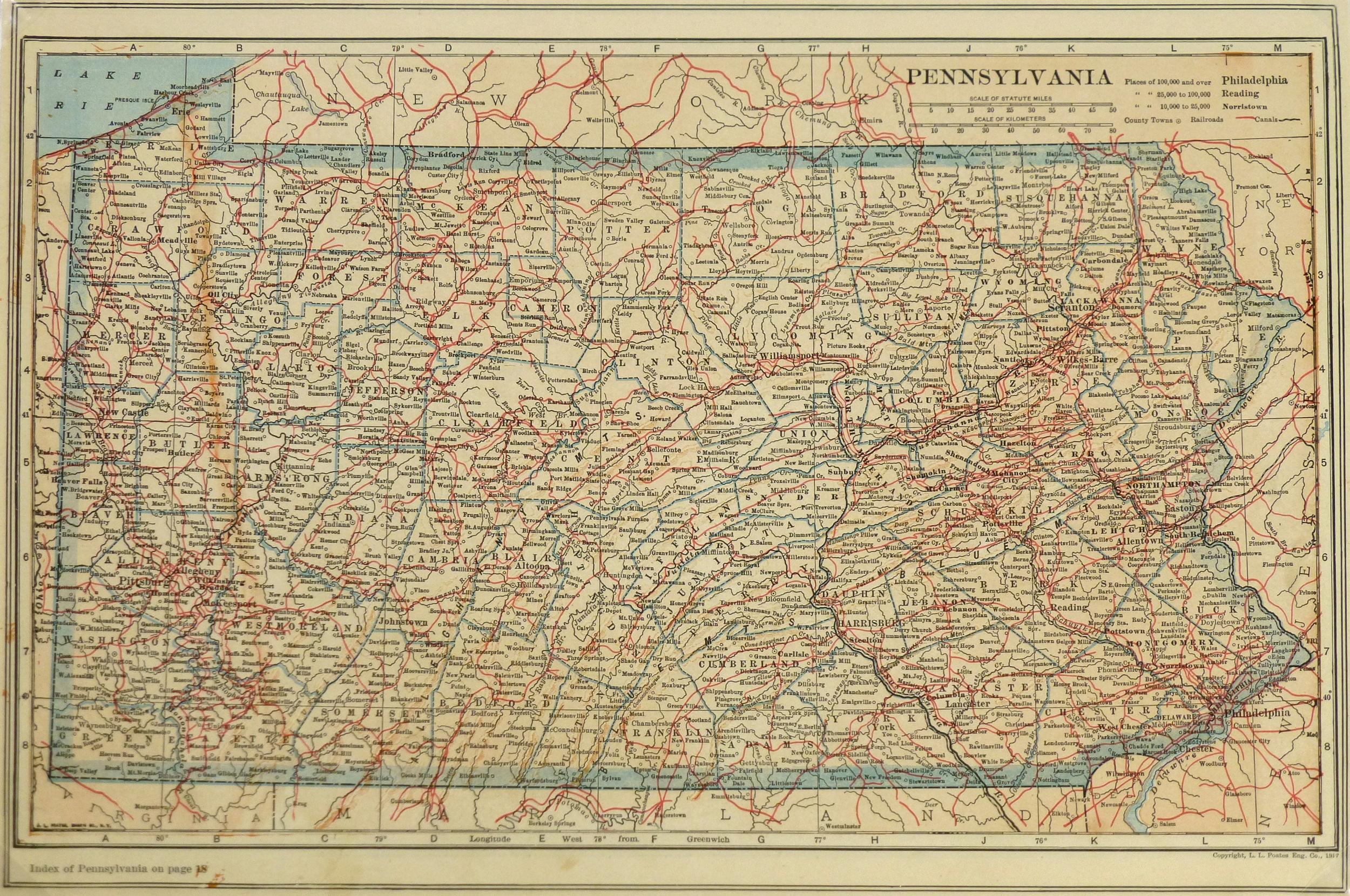 Pennsylvania Map, 1917-main-5783K