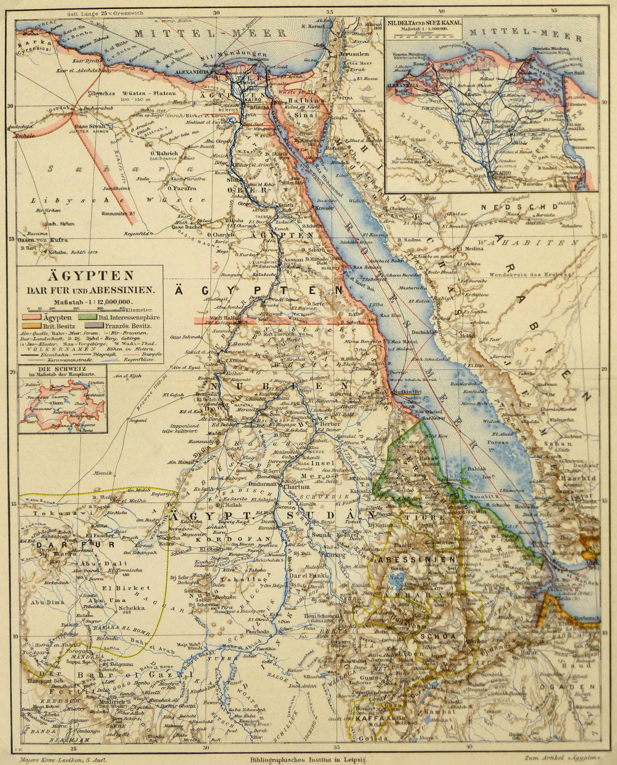 Egypt, Sudan & Ethiopia Map, Circa 1880-main-5791K