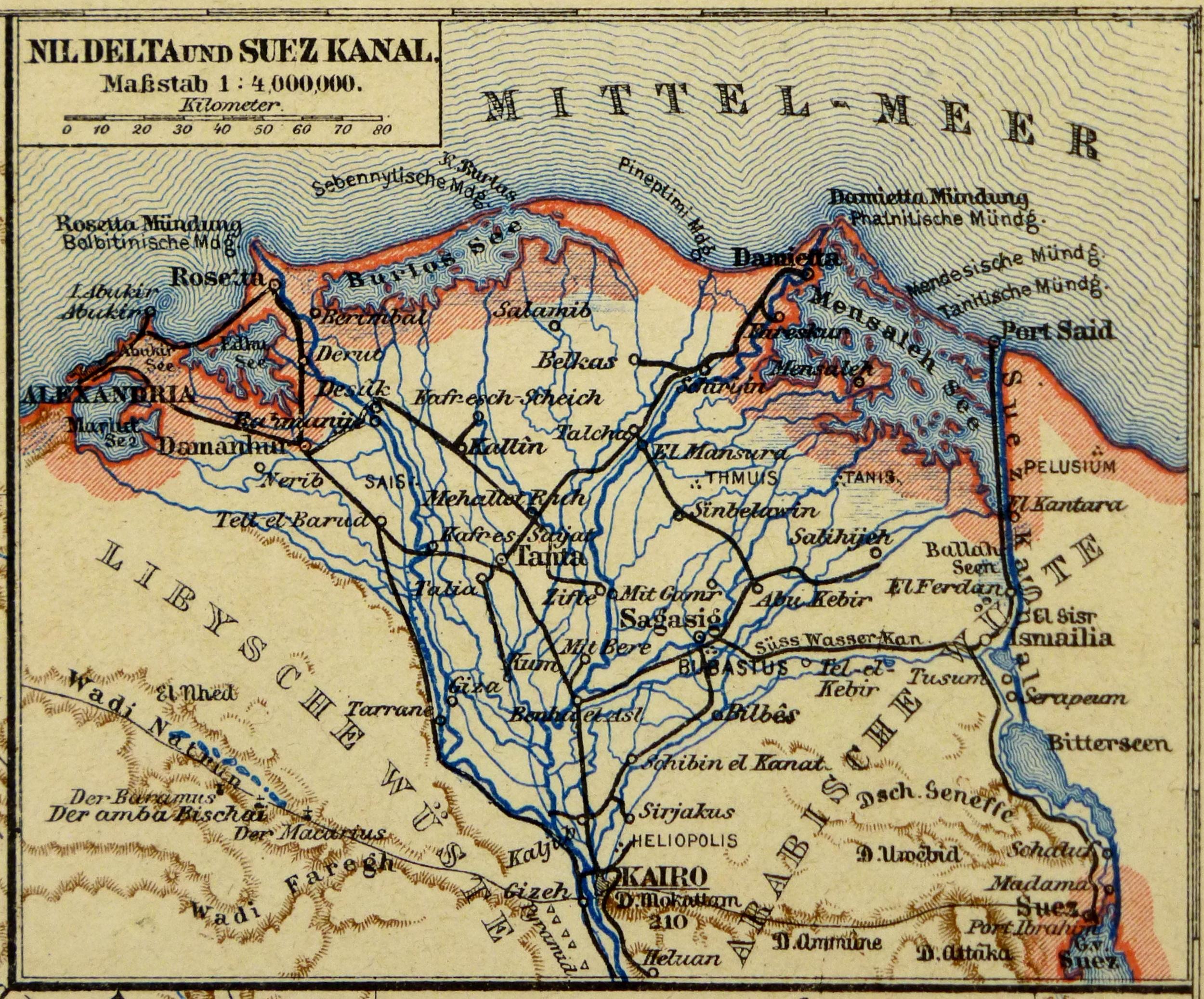 Egypt Sudan Ethiopia Map Circa Original Art Antique - Map of egypt ethiopia