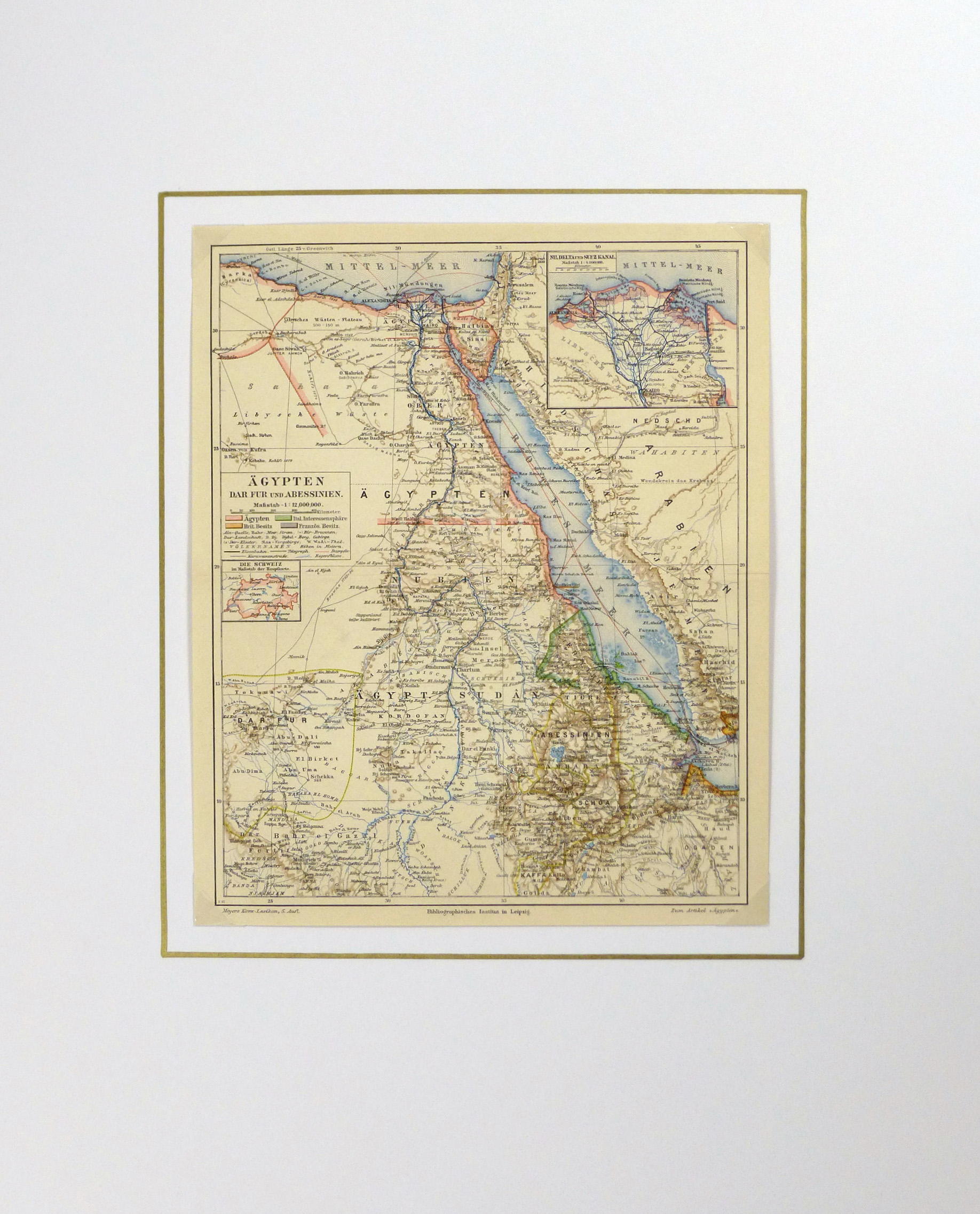 Egypt, Sudan & Ethiopia Map, Circa 1880-matted-5791K